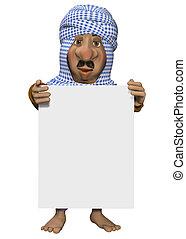 arabisch, man, vasthouden, meldingsbord