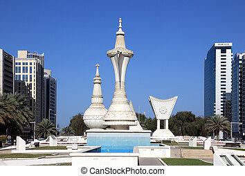 arabische koffie, pot, monument, in, abu dhabi, verenigde arabische emiraten