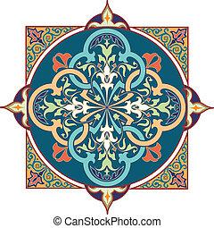 arabisches , blumen muster, motiv, arabisches