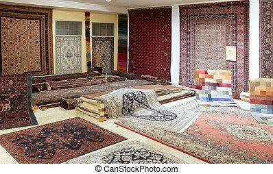 arabiska, matta, butik, utställning, färgrik, mattor