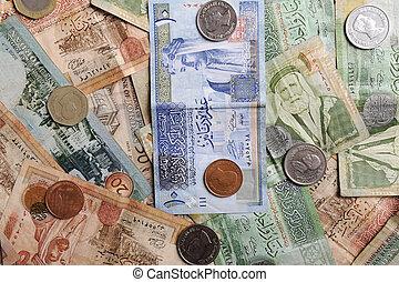 arabiska, sedlar, och, mynter