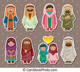 arabo, adesivi, cartone animato, persone
