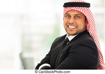 arabo, allegro, uomo affari