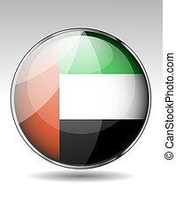 arabo, bandiera, unito, emirati, bottone