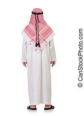 arabo, bianco, pregare, isolato, uomo
