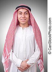 arabo, bianco, uomo, isolato, giovane