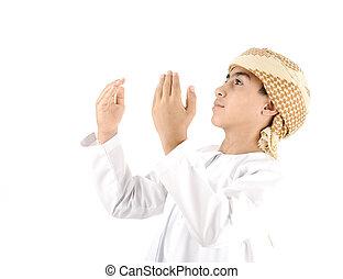 arabo, capretto, pregare, isolato