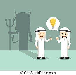 arabo, cattivo, idea, affari
