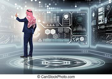 arabo, concetto, amministrazione, dati, uomo