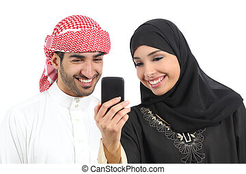 arabo, coppia dividendo, sociale, media, su, il, far male, telefono