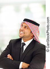 arabo, daydreaming, uomo affari