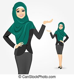 arabo, donna affari, esposizione, qualcosa