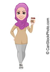 arabo, donna affari, sorridente, cartone animato, carattere
