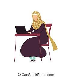arabo, donna, lavorativo, seduta, laptop, musulmano, moderno, illustrazione, tradizionale, vettore, computer, scrivania, ragazza, abbigliamento