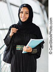 arabo, femmina, libro, studente università, presa a terra
