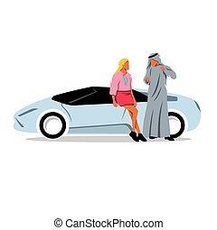 arabo, illustration., sceicco, vettore, automobile., ragazza, sport