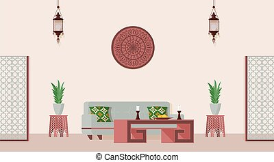 arabo, indiano, appartamento, vettore, decorato, orientale, disegnato, room., vivente, o, illustrazione, stile