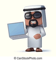 arabo, laptop, presa a terra, 3d