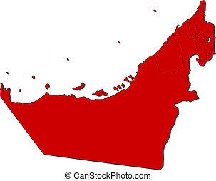 arabo, mappa, unito, emirati