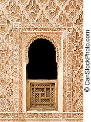 arabo, mosaico, finestra, dettaglio