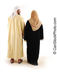 arabo, musulmano, camminare, famiglia