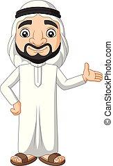 arabo, ondeggiare, saudita, cartone animato, uomo