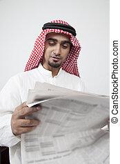 arabo, profitto, lettura, investimento, uomo