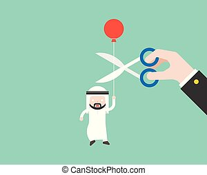 arabo, taglio, scissor, ballon, paranoide, grande, portante, mano, corda, suo, uomo affari, situazione, affari