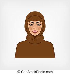 arabo, tradizionale, donna, vestiti