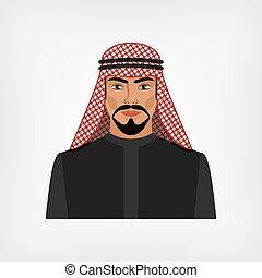 arabo, tradizionale, uomo, vestiti