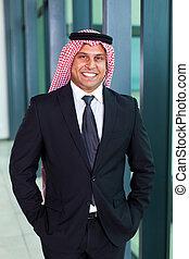 arabo, uomo affari, abito nero