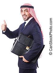 arabo, uomo affari, bianco, isolato