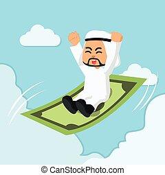 arabo, uomo affari, cavalcata, volare