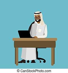 arabo, uomo affari, lavorando, uno, laptop