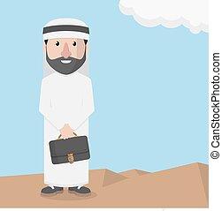 arabo, uomo, affari, presa a terra, breifca