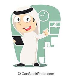 arabo, uomo affari, presa a terra, tavoletta