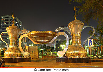 arabska kawa, garnki, na, park, wejście, w, abu dhabi