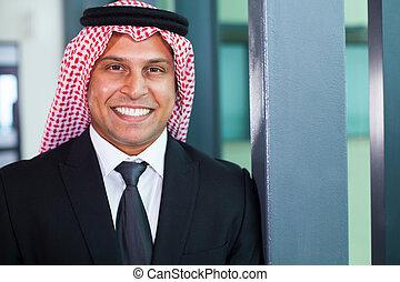 arabski, biznesmen, w, nowoczesny, biuro