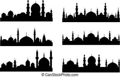 arabski, cityscapes, sześć, czarnoskóry, sylwetka