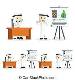arabszczyzna, biznesmen, prezentacja, ilustracja, projektować