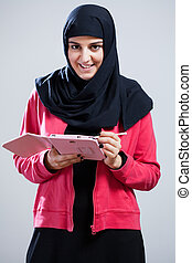 arabszczyzna, dziewczyna, tabliczka
