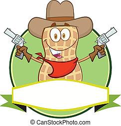 arachide, cowboy, cartone animato, etichetta