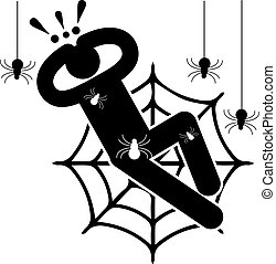 Arachnophobia. Fear of spiders. Phobia. Crawling spiders. Entangled in the web. Afraided man. Logo, icon, silhouette, sticker, sign.
