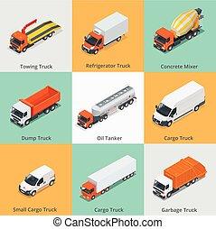 arado, car, caminhão, truck., misturador, caminhão, lixo, jogo, petroleiro, pequeno, concreto, neve, isometric., carga, 3d, ícones, icon., icons., entulho, óleo