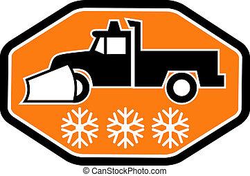 arado, dentro, nieve, camión, heaxagon, plano de fondo, copo...