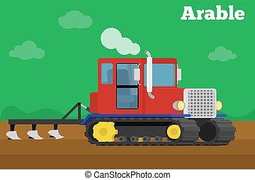 arado, field., tillage, agrícola, bandeira, trator, crawler