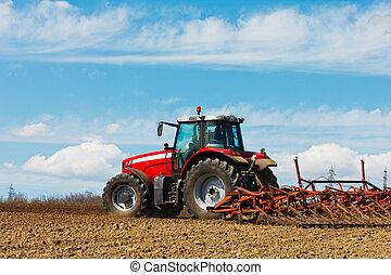 arado, granja, field., cultivar, granjero, arada, tractor, rojo