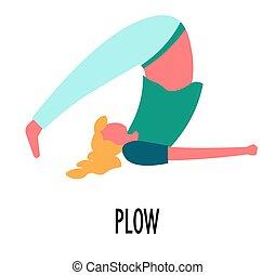 arado, ioga, asana, esticar, condicão física, pose, desporto...