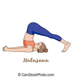 arado, ioga, pose., silhouette., halasana, mulheres