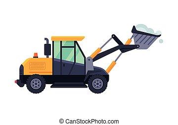 arado, máquina, vector, profesional, vehículo, ilustración, invierno, pesado, excavador, camino, retiro de nieve, limpieza